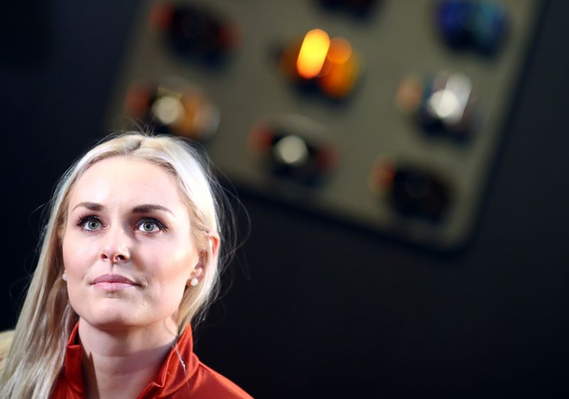 U.S. former skier Lindsey Vonn gives an interview during the ISPO trade fair for sports equipment and fashion in Munich