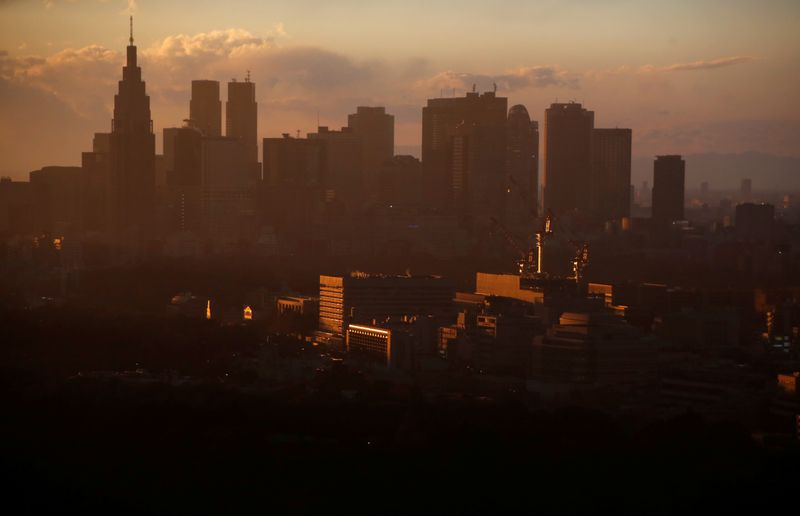 High-rise buildings are seen at the Shinjuku business district during sunset in Tokyo