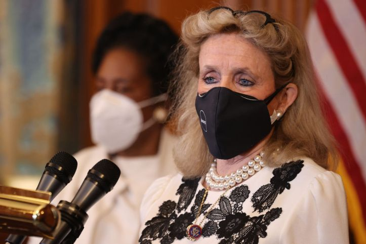 WASHINGTON, DC - MARCH 17: Rep. Debbie Dingell (D-MI) recounts her own experiences with domestic violence during a news conference with Rep. Shelia Jackson Lee (D-TX) about the renewal of the Violence Against Women Act in the Rayburn Room at the U.S. Capitol on March 17, 2021 in Washington, DC. The House of Representatives is set to vote on reauthorizing the act. (Photo by Chip Somodevilla/Getty Images)