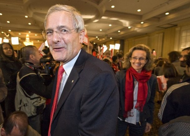 """Marc Garneau and is wife attend the the Liberal gathering October 14, 2008 in St. Laurent, Montreal, Quebec, Canada.  Canadians elected for the status quo amid economic uncertainty, choosing to """"stay the course"""" with Prime Minister Stephen Harper's Conservatives in a third election in four years.  AFP PHOTO / ROGERIO BARBOSA (Photo credit should read ROGERIO BARBOSA/AFP via Getty Images)"""