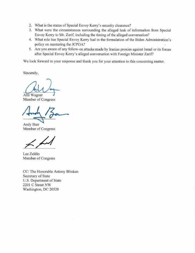 Letter to acting State Department Inspector General Diana Shaw