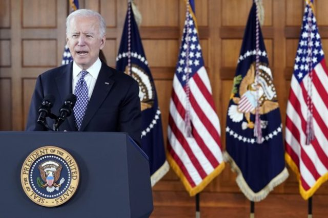 FILE - President Joe Biden speaks after meeting with leaders from Georgia's Asian-American and Pacific Islander community, , at Emory University in Atlanta, in this Friday, March 19, 2021, file photo. Georgia's new voting law _ which critics claim severely limits access to the ballot box, especially for people of color _ has prompted calls from as high as the White House to consider moving the midsummer classic out of Atlanta. The game is set for July 13 at Truist Park, the Braves' 41,000-seat stadium in suburban Cobb County. (AP Photo/Patrick Semansky, File)