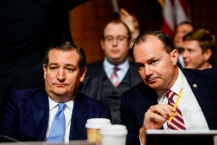 WASHINGTON, DC - SEPTEMBER 27: Sen. Ted Cruz (R-Tex.) , left, and Mike Lee (R-Utah) at a Senate Judiciary Committee hearing in the Dirksen Senate Office Building on Capitol Hill September 27, 2018 in Washington, DC. A professor at Palo Alto University and a research psychologist at the Stanford University School of Medicine, Ford has accused Supreme Court nominee Judge Brett Kavanaugh of sexually assaulting her during a party in 1982 when they were high school students in suburban Maryland. (Photo by Melina Mara-Pool/Getty Images)