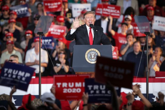 MONTOURSVILLE, PA - MAY 20: U.S. President Donald Trump speaks during a 'Make America Great Again' campaign rally at Williamsport Regional Airport, May 20, 2019 in Montoursville, Pennsylvania. Trump is making a trip to the swing state to drum up Republican support on the eve of a special election in Pennsylvania's 12th congressional district, with Republican Fred Keller facing off against Democrat Marc Friedenberg. (Photo by Drew Angerer/Getty Images)