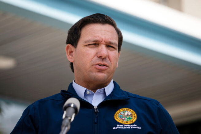 MIAMI, FL - AUGUST 29: Governor Ron DeSantis gives a briefing regarding Hurricane Dorian to the media at National Hurricane Center on August 29, 2019 in Miami, Florida. Hurricane Dorian is expected to become a Category 4 as it approaches Florida in the upcoming days. (Photo by Eva Marie Uzcategui/Getty Images)