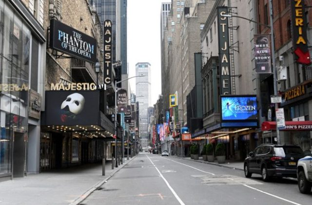 NEW YORK, NEW YORK - APRIL 08: Closed broadway theaters during the coronavirus pandemic on April 08, 2020 in New York City. The Broadway League announced today that theaters will remain closed until June 7, effectively ending the 2019-2020 season. (Photo by Jamie McCarthy/Getty Images)