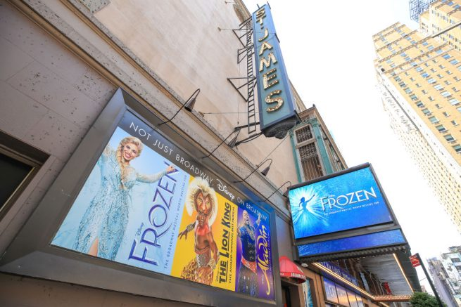 """NEW YORK, NEW YORK - MAY 15: The St. James Theatre remains closed due to the ongoing coronavirus pandemic on May 15, 2020 in New York City. Disney's """"Frozen,"""" which was previously showing at Broadway's St. James Theatre, has announced its permanent closure. All Broadway theaters will remain dark through at least September 7, 2020. (Photo by Arturo Holmes/Getty Images)"""