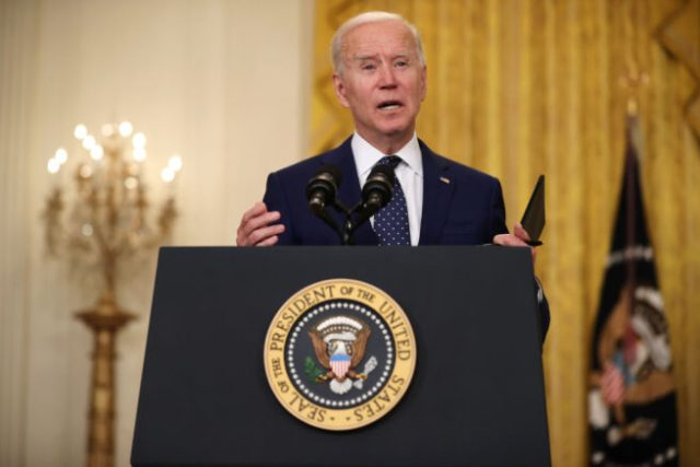 WASHINGTON, DC - APRIL 15: U.S. President Joe Biden announces new economic sanctions against the Russia government from the East Room of the White House on April 15, 2021 in Washington, DC. Biden announced sanctions against 32 companies and individuals that are aimed at choking off lending to the Russian government and in response to the 2020 hacking operation that breached American government agencies and some of the nation's largest companies. (Photo by Chip Somodevilla/Getty Images)