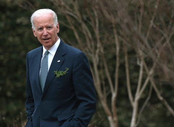 WASHINGTON, DC - MARCH 14:  Vice President Joseph Biden waits for the arrival of Prime Minister Enda Kenny of Ireland, at the Naval Observatory, on March 14, 2014 in Washington, DC. Vice President Biden hosted a breakfast for the Irish Prime Minister in honor of St. Patricks Day on Sunday.  (Photo by Mark Wilson/Getty Images)