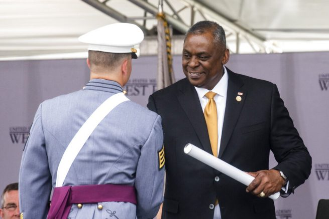 Defense Secretary Lloyd Austin US Defense Secretary Lloyd Austin hands out diplomas to United States Military Academy graduating cadets during the ceremony for class 2021 at Michie Stadium on Saturday, May 22, 2021, in West Point, N.Y. (AP Photo/Eduardo Munoz Alvarez)