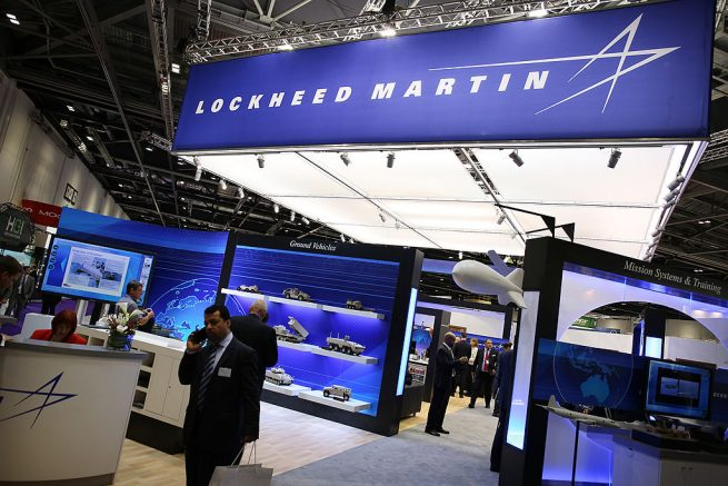 LONDON, ENGLAND - SEPTEMBER 10: The Lockheed Martin stand at the Defence and Security Exhibition on September 10, 2013 in London, England. ExCeL London is hosting the exhibition with hundreds of manufacturers from all over the world displaying their hardware. (Photo by Peter Macdiarmid/Getty Images)