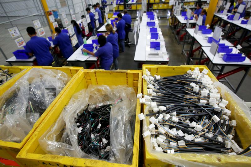 A general view shows Ark de Mexico, an assembly factory that makes wire harnesses and electric components for the automobile industry, in Ciudad Juarez