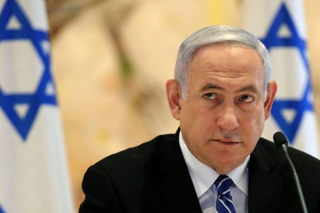 Israeli Prime Minister Benjamin Netanyahu attends a cabinet meeting of the new government at Chagall State Hall in the Knesset (Israeli parliament) in Jerusalem on May 24, 2020. (Photo by ABIR SULTAN / POOL / AFP) (Photo by ABIR SULTAN/POOL/AFP via Getty Images)