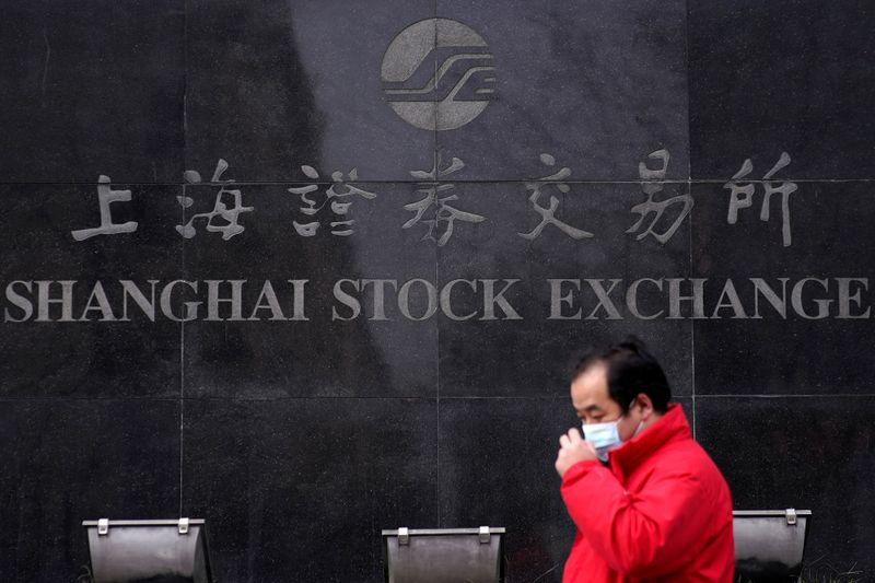 FILE PHOTO: A man wearing a mask walks by the Shanghai Stock Exchange building at the Pudong financial district in Shanghai