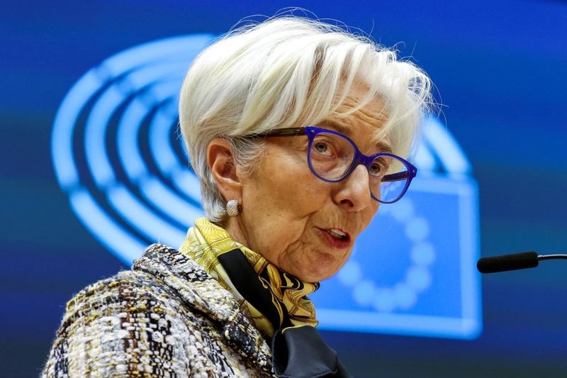 FILE PHOTO: ECB President Lagarde attends a plenary session at the European Parliament in Brussels