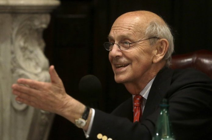 U.S. Supreme Court Justice Stephen Breyer speaks to an audience at the French Cultural Center in Boston. (AP Photo/Steven Senne)