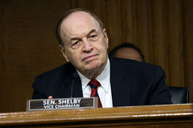 WASHINGTON, DC - JUNE 08: Sen. Richard Shelby (R-AL) listens as U.S. Secretary of State Anthony Blinken testifies during a Senate Appropriations subcommittee hearing on the Department of State budget request on June 08, 2021 in Washington, DC. Blinken spoke on the Department will handle climate change, the COVID-19 pandemic and U.S. competition with China. (Photo by Kevin Dietsch/Getty Images)