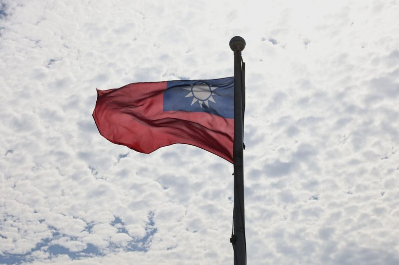 A Taiwanese flag flaps in the wind in Taoyuan