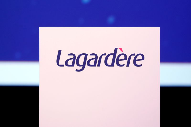 FILE PHOTO: The logo of French media group Lagardere is seen during the groups annual general meeting in Paris