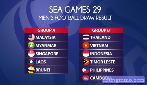 lịch thi đấu seagame 29 bóng đá nam