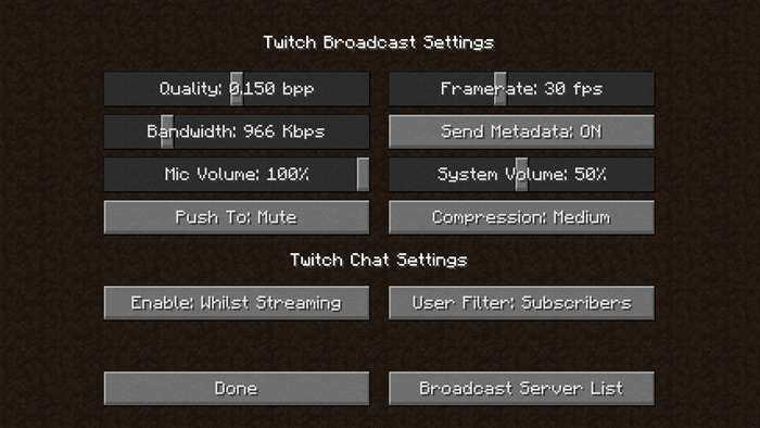 Minecraft Twitch Settings Screen