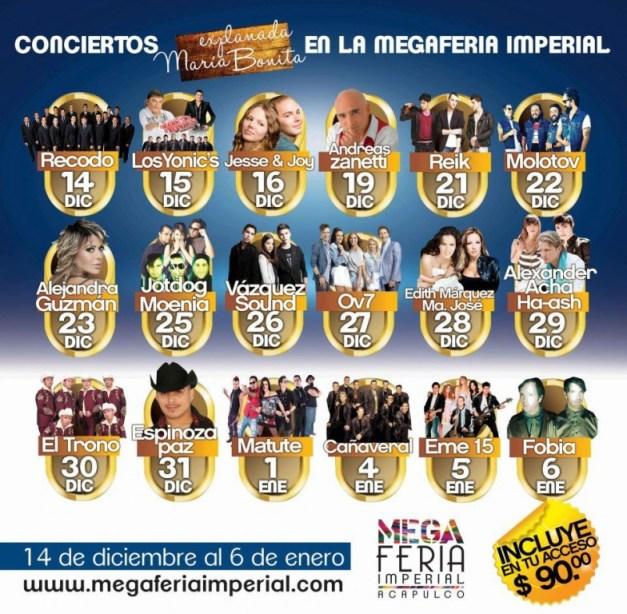 Programa de Conciertos la Mega Feria Imperial en Acapulco