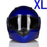 Blau Kühle Double Face Spiegel Motorrad E-Bike Full Face Klapphelm Sonnenblende XL -