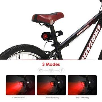 Coomatec LED Fahrradlampe Frontlicht und Rücklicht ,Taschenlampe Set,Inklusive Batterien, 3 Licht-Modi, 200lm, Wasserdicht -