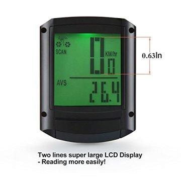 Drahtlos Fahrradcomputer, Fivanus Wasserdichtes Tacho Kilometerzähler mit Multi-Funktions und Großen LCD Hintergrundlicht (Batterie Enthalten) -