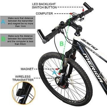Fahrradcomputer Vikeepro Kabelloser Bike Computer mit LCD Hintergrundlicht und Multifunktions -