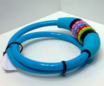 Fahrradzahlenschloss 65 cm, Stahlseil Kunststoff ummantelt, Fahrrad Zahlen Schloss blau -
