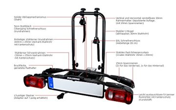 Heckträger AHK für Anhängerkupplung, universal, klappbar, passend für zwei Fahrräder oder E-Bikes, max. Nutzlast 50 kg, -