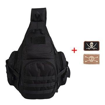 Lalawow Sling Bag taktisch Rucksack Daypack Fahrradrucksack Umhängetasche Schultertasche Crossbody Bag (Schwarz) -