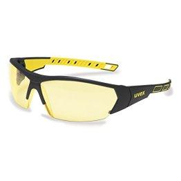 uvex i-works 9194 Unisex Brille EN 166 mit UV-Schutz + Mikrofaserbeutel - Sonnenbrille Schutzbrille Sportbrille Arbeitsbrille Radbrille (gelb/amber) -