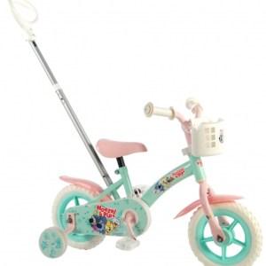 Woezel & Pip meisjesfiets 10 Inch 18 cm Meisjes Doortrapper Groen/Roze