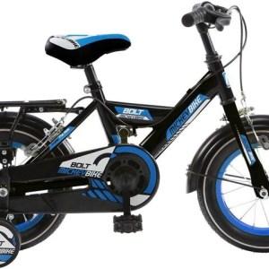 Mickeybike Mickeybike 12 Inch 24 cm Jongens Knijprem Zwart/Blauw