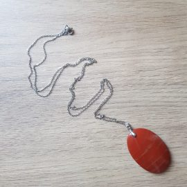 Pandantiv Oval Jasper - Curcubeu Roșu 46mm