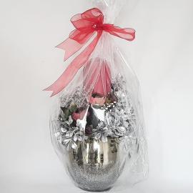 Aranjament argintiu lumânare decorată Crăciun 32 cm
