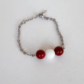 Bratara marțișor inox si perle