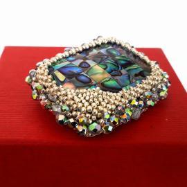 Broşa Cristale şi Abalone 55x45mm
