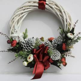 Coroniță Crăciun 35cm White and Red Christmas