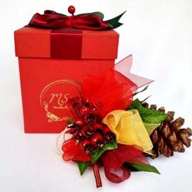 Cutie cadou Con pin, decorat Crăciun, 15cm