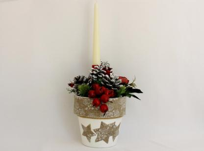"Decor lumânare ""White and Red Vintage Christmas"" 38 cm"