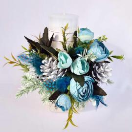 Crăciun Turquoise-Aranjament lumânare 25 cm