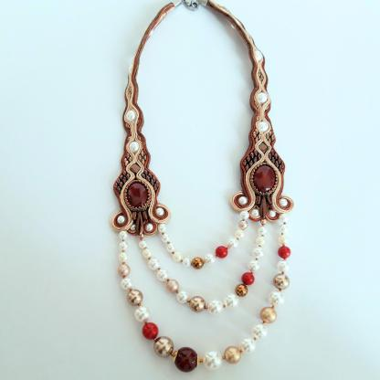 Colier 3 șiruri perle Swarovski, soutache