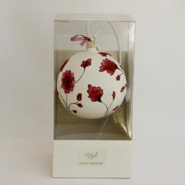 glob craciun alb flori rosii margele