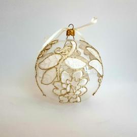 Glob Crăciun dantelă flori ivoire cu auriu, 10 cm