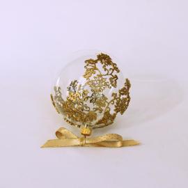 """Glob sticlă Crăciun 10 cm transparent """"Just Lace"""""""