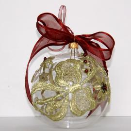 Cadouri Crăciun- Globuri sticlă cu flori dantelă