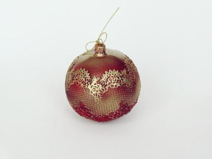 Glob sticlă Crăciun Roșu auriu vintage 10 cm